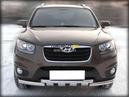 Hyundai Santa Fe 2010-2012г.в.-Дуга передняя по низу бампера d-60 с доп.накладками